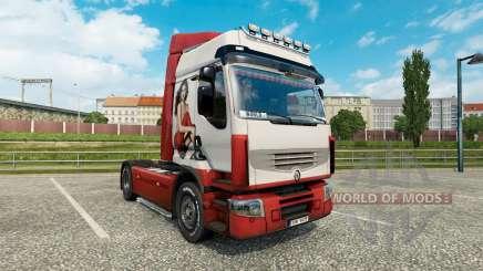 Скин Ирина Шейк на тягач Renault Premium для Euro Truck Simulator 2