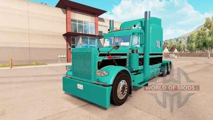 Скин Turquoise black на тягач Peterbilt 389 для American Truck Simulator