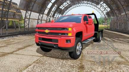 Chevrolet Silverado 3500 HD Crew Cab flatbed для Farming Simulator 2017