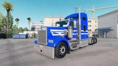 Скин Blue White Stripes на тягач Kenworth W900