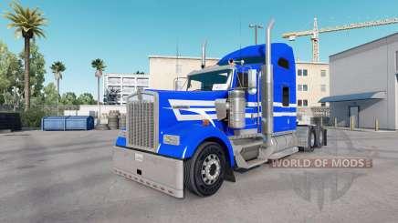Скин Blue White Stripes на тягач Kenworth W900 для American Truck Simulator