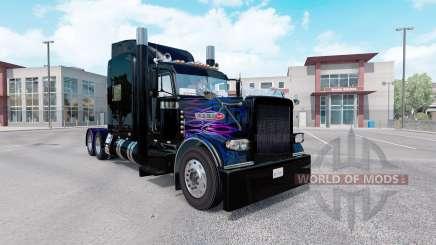 Скин Purple-pink flame на тягач Peterbilt 389 для American Truck Simulator