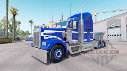 Скин Blue White на тягач Kenworth W900 для American Truck Simulator