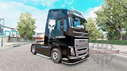 Скин Punisher на тягач Volvo FH-series для Euro Truck Simulator 2