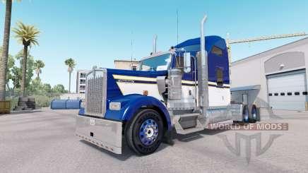 Скин Blue Yellow White на тягач Kenworth W900 для American Truck Simulator