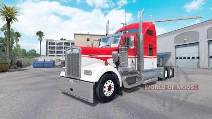 Скин White Red на тягач Kenworth W900 для American Truck Simulator